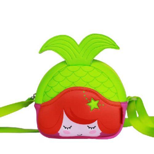 Детска 3D чанта Русалка за през рамо зелена