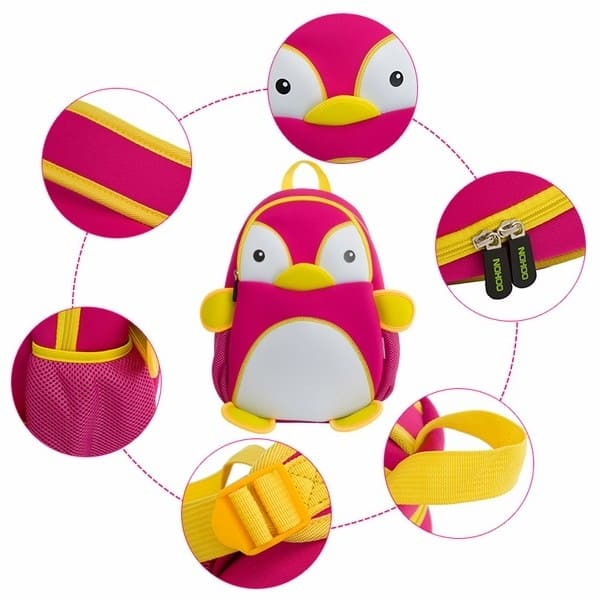 Детска 3D раница Пингвин розов